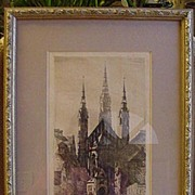 SALE Framed Etching of Church in Munich, Signed by Artist