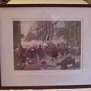 "SALE Photogravure Print Copyright 1893 ""Barricade of 1830"""