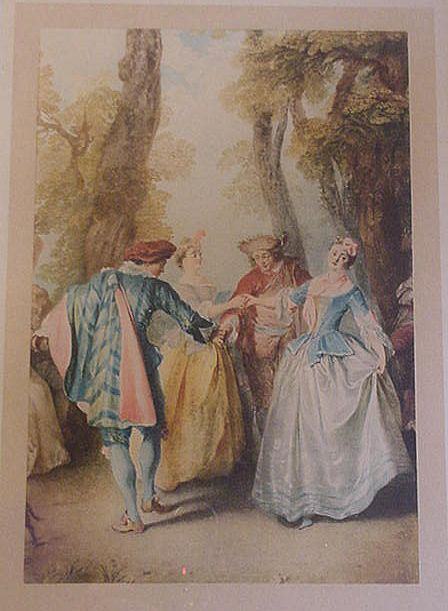 Nicholas Lancret French Engraving, Das Moulinet