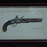 SALE James W. Kalman Flintlock Pistol Signed Print, S. North, Model 1808