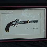 SALE James W. Kalman Flintlock Pistol Print, I.N. Johnson Model 1842