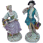 SALE Pair French Porcelain Figurines, Man & Woman Harvesting Grapes