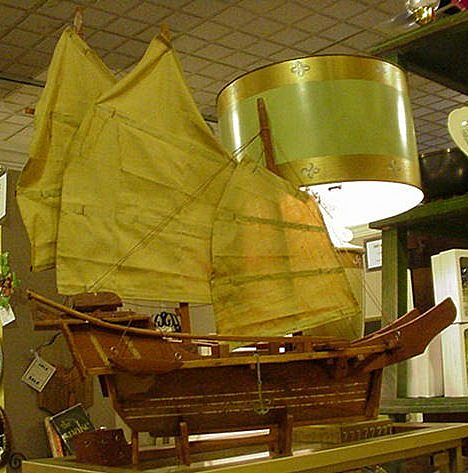 1950s Wooden Ship Model, Chinese Junque