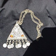 Heavy Metal Necklace with large Triangular Plaque w Turquoise, Carnelian Accents
