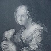 Engraving of Innocence w Lamb, Italian Artist, Carlo Dolci