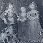 A. van Dyke Engraving of Children of Charles I