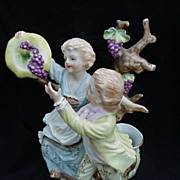 Camille Nadot, French Porcelain Figurine of Two Children Picking Grapes