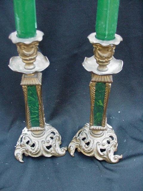 Pair of Antique Brass & Malachite Candlesticks
