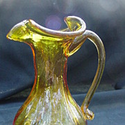 Vintage Blown Glass Pitcher w Applied Handle, Sunflower Yellow