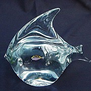 Italian Murano Oggetti Clear Crystal Angel Fish w Goldfish Suspended in Center