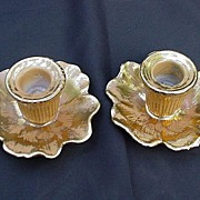 Pair of Stangl Pottery Granada Gold Candlesticks, Hand-Painted