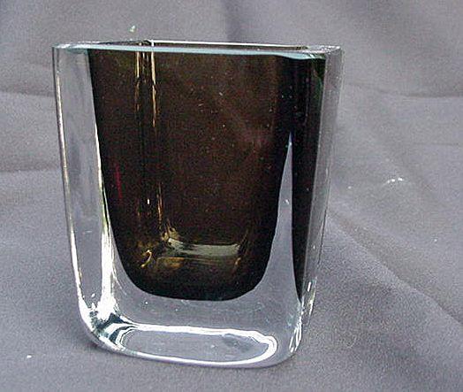 Stromberg Swedish Art Glass Vase, Clear and Amber Rectangular Body