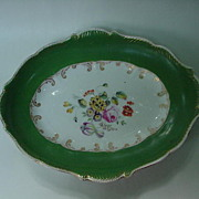 SALE 19th C. Porcelain Oval Tray w Wide Green Borders, Floral Bouquet Center