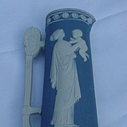 Blue Jasperware Vase, Goddess w Child