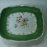 SALE 19th C. Porcelain Rectangular Tray, Wide Green Border, Floral Center