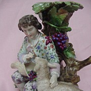 SALE 19th Century German Porcelain Candlestick, Boy with Sheep, Triebner, Ens & Eckert