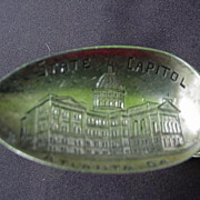 Atlanta Georgia Souvenir Spoon with State Capitol Engraved in Bowl