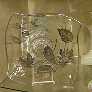 Silver Overlay Crystal Tray/Plate, Mid-Century Style, Falling Leaves Motif