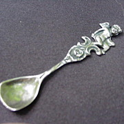 Sterling Silver Salt Spoon with Cherub Atop Handle