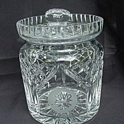 SALE Waterford  Biscuit Barrel, Etched Silhouette of Bing Crosby