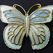 J J Enamel on Gold Tone Metal Butterfly Pin