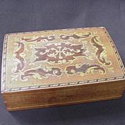 SALE Inlaid Wood Veneer Box, String Inlay, Dolphin Motif, Birds, Floral Flourishes