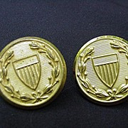 SALE Set of Waterbury Button Co. Brass Buttons with Shield
