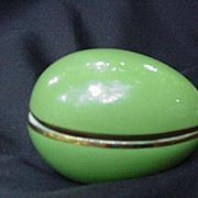 Apple Green Limoges Porcelain Egg w Gold Accents