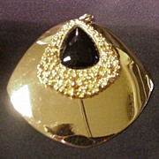Napier Gold Tone Metal Pendant  w Black Enamel Teardrop Center