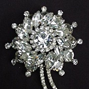 Fabulous Prong- Mounted Rhinestone Pin, Flower Shape