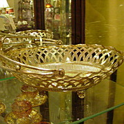 Silverplated Basket, Reticulated Sides, Ornate Handle
