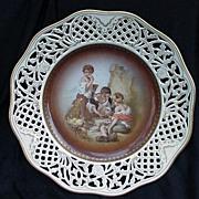 SALE Schumann Germany Porcelain Plate, Pierced Border, Gold Decoration