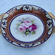 Nippon Hand-Painted Bowl, Cobalt, Gold, Flowers