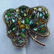 Goldtone Pansy Brooch with Green and Amber Prong-Mounted Stones