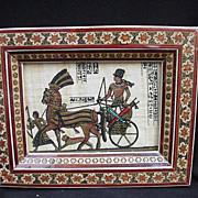 SALE Vintage Framed Egyptian Scene Painted on Papyrus
