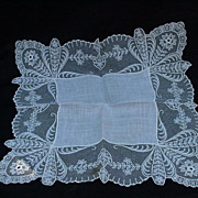 SALE Delicate Lace Wedding Handkerchief with Orchid Images