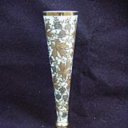 SALE Antique Blue Opaline Bud Vase with Gold Decoration