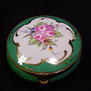 Vintage Limoges Round Box, Roses in Five-Lobed Reserve
