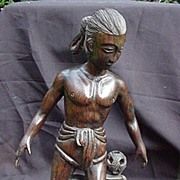 Japanese Carved Wooden Figure, Man Playing Ball