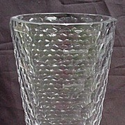 Honeycomb Pattern Cut Glass, Tall Vase, Clear Crystal