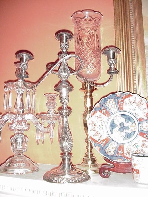 Pair of Ornate, Three-Light, Silverplated Candelabra