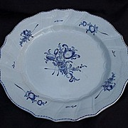 Blue and White Plate w Central Floral Bouquet, Embossed Basketweave Borders