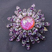 SALE Amethyst-Colored Starburst Pin, Prong Mounted Stones, 1940s