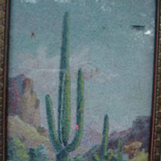 SALE 1930 Original Art,  Mae de Ville, Giant Cactus