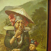 SALE Vintage Oil Painting of Southeast Asian Woman and Child in Highland Meadow