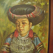 SALE Vintage Oil  Figural Study of Southeast Asian Beauty in Native Costume