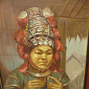 SALE Vintage Figural Study, Oil on Board, of Southeast Asian  Hill Tribe Weaver