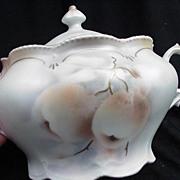 SALE R. S. Prussia Cracker Jar, Scarce Fruit Decoration