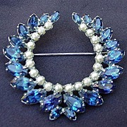 B. David Blue Rhinestone and Simulated Pearl Pin, Wreath Shape