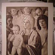 "SALE 1900 Photogravure Etching Bellini's  Virgin , St. Peter,  St. Sebastian"""